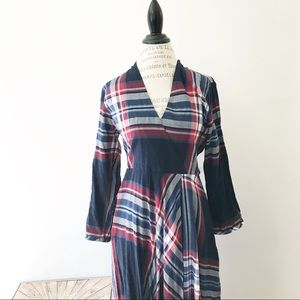 Anthro Isabella Sinclair Tartan Surplice Dress